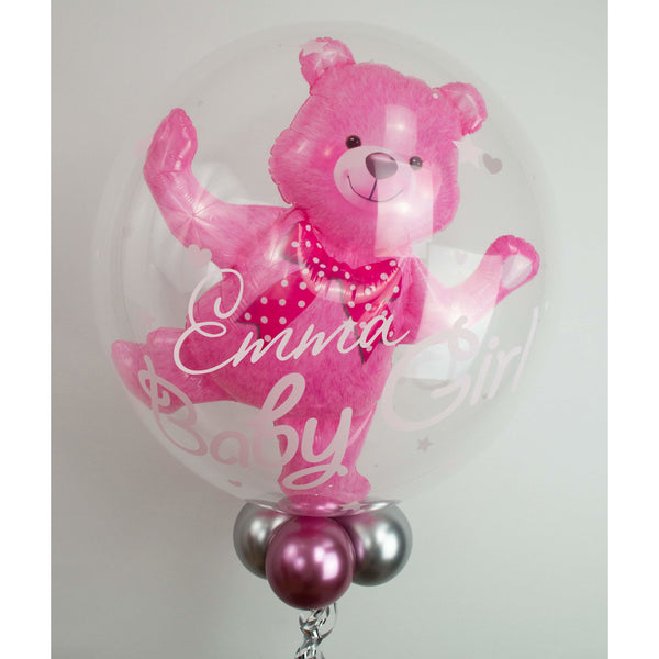 Personalisierter Bubble Ballon - Baby Bär Girl - Balloon Up - Ballongruß