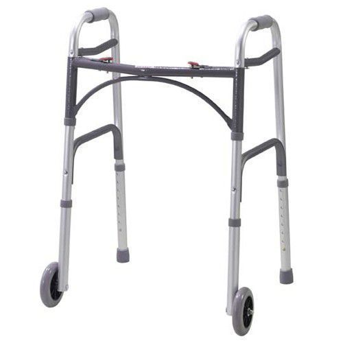 Drive Medical Two Button Folding Universal Walker 5 Inch Wheels Silver #102104