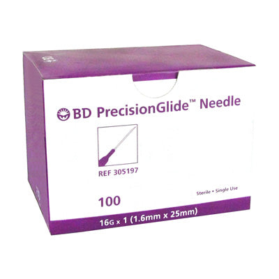 "BD #305197 Needle, 16G x 1"" Regular Bevel, Sterile, 100/bx - fhmedicalservices"