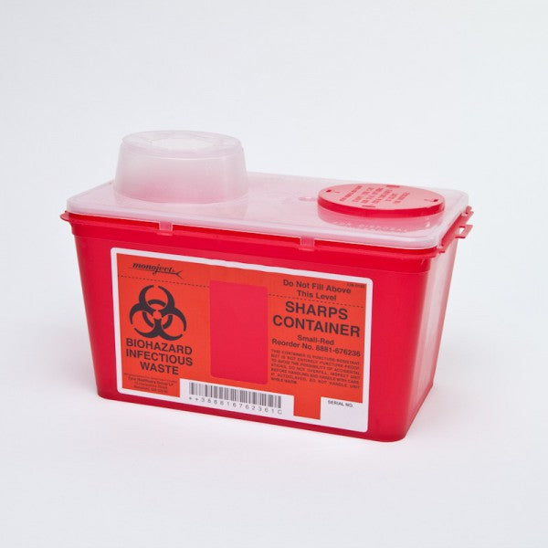 4 Quart Red Sharps-a-Gator Sharps Container with Chimney Top #8881676236