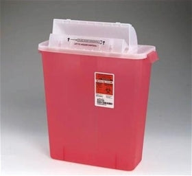 Covidien #8537SA SharpSafety Safety In Room Sharps Container Counterbalance Lid, 3 gal Capacity, Transparent Red - fhmedicalservices