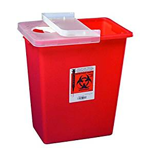 Covidien #8980 MultiPurpose Sharps Container w/Hinged Lid, 8 Gallon