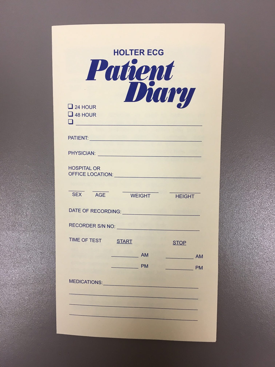 Patient Holter Diary #5100 - fhmedicalservices