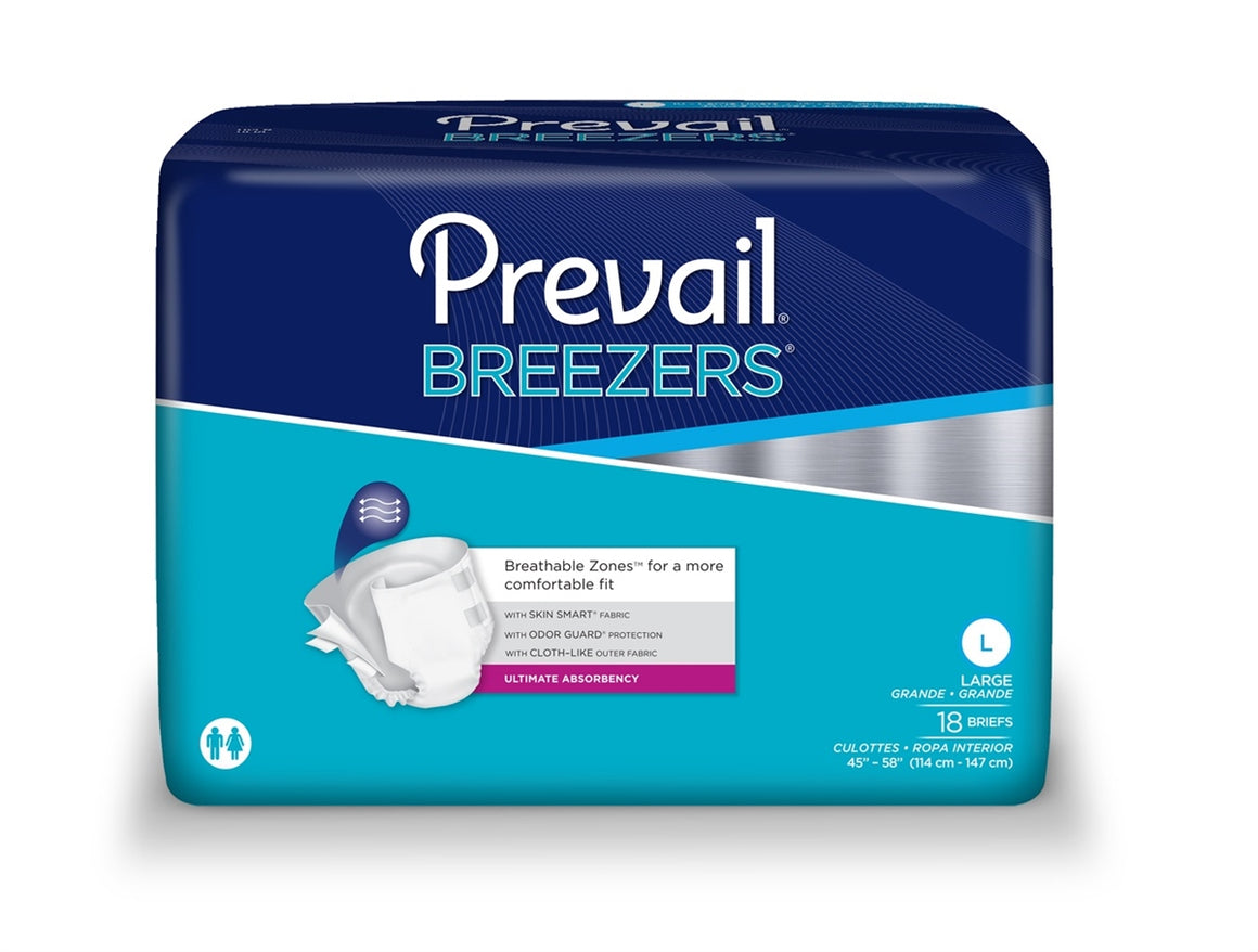 Prevail Breezers Adult Brief, Large, Heavy Absorbency, #PVB-013 - Pack of 18