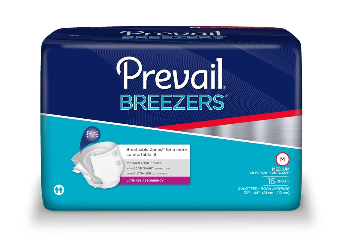 Prevail Breezers Adult Brief, Medium, Heavy Absorbency, #PVB-012 - Pack of 16 - fhmedicalservices