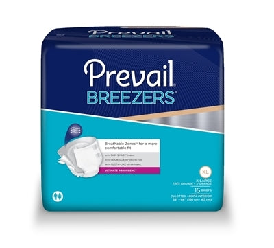 Prevail Breezers Adult Brief, XLarge, Heavy Absorbency, #PVB-014 - Pack of 15