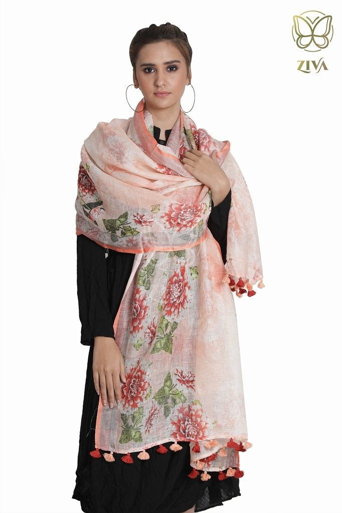 Peachish Orange Floral Linen Dupatta - ZIVA CLOTHING