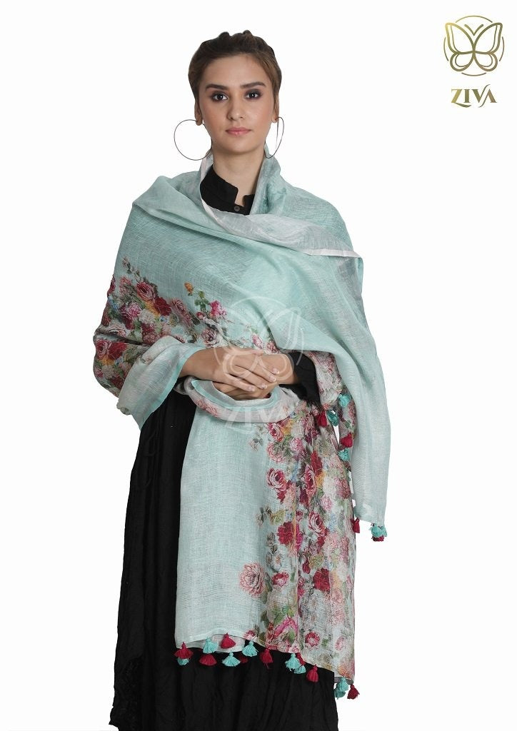 Sea Green Floral Linen Dupatta - ZIVA CLOTHING
