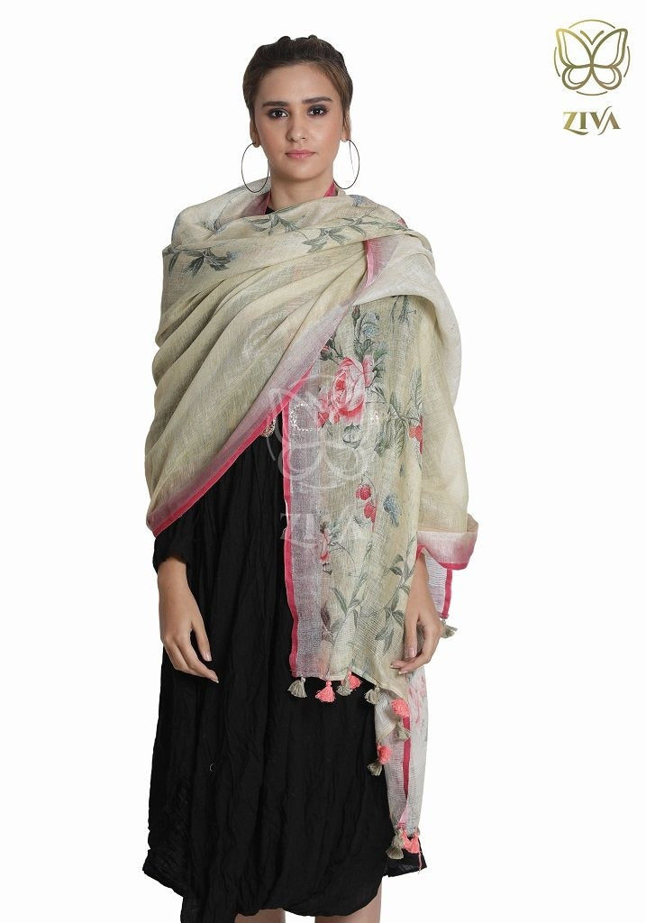 Faded Yellow Floral Linen Dupatta - ZIVA CLOTHING