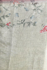 Faded Yellow Floral Linen Stole - ZIVA CLOTHING