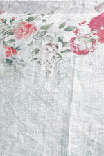 Grey Floral Linen Stole - ZIVA CLOTHING