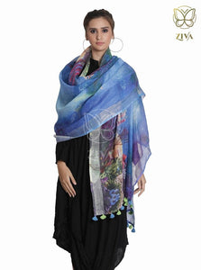 Royal Blue Printed Linen Stole - ZIVA CLOTHING
