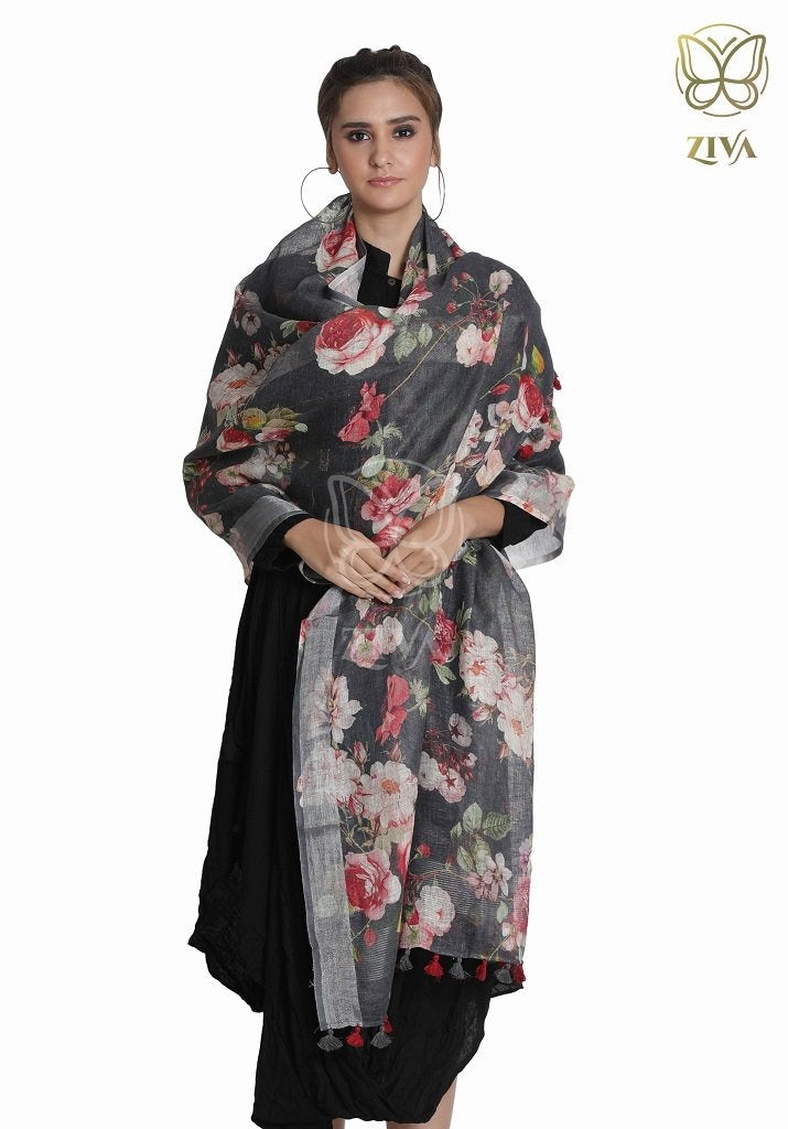 Black Floral Linen Stole - ZIVA CLOTHING