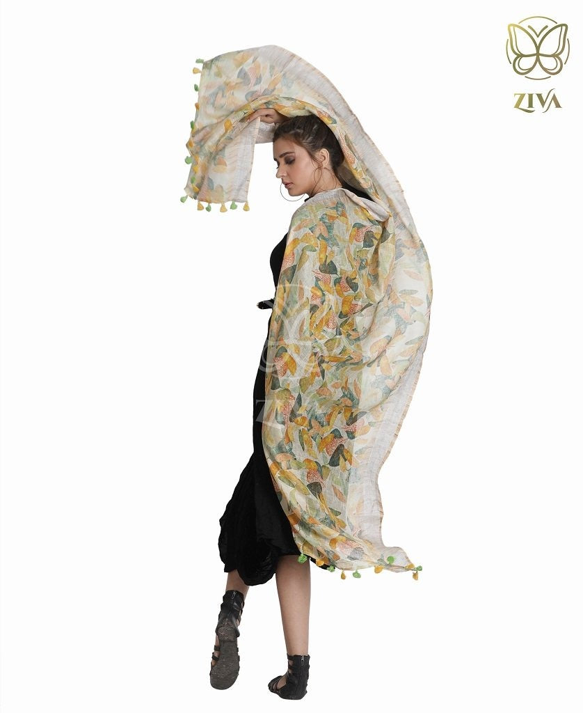 Maple Yellow Printed Linen Stole - ZIVA CLOTHING
