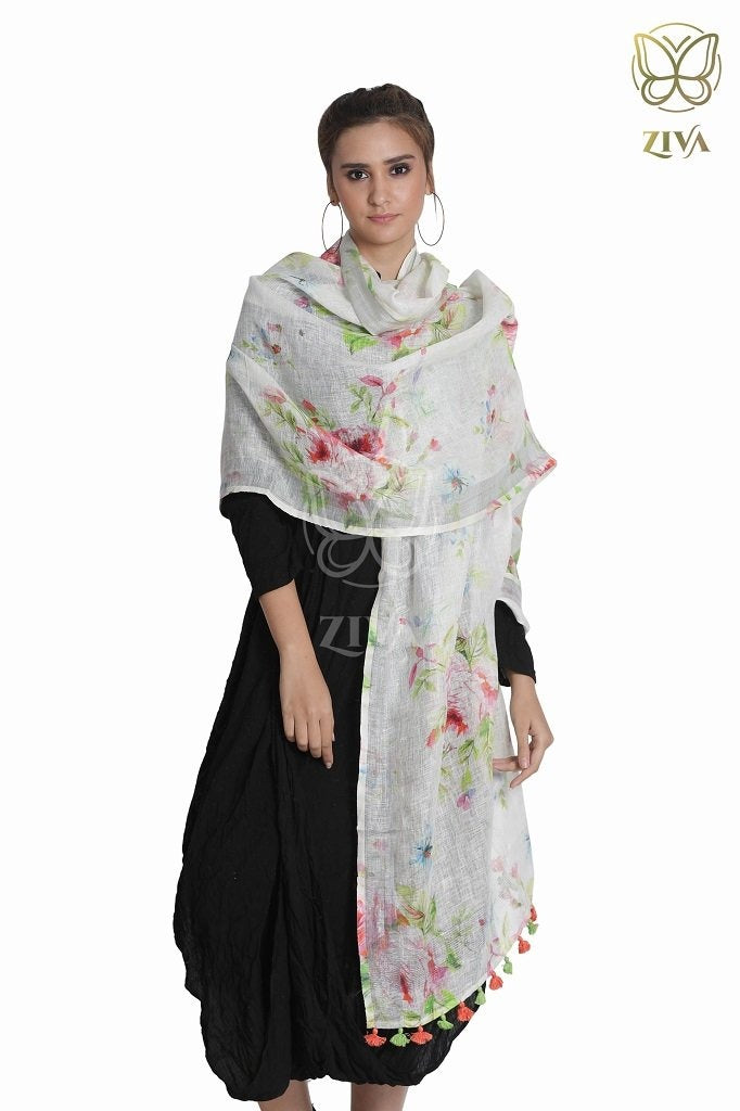Dull White Floral Linen Stole - ZIVA CLOTHING