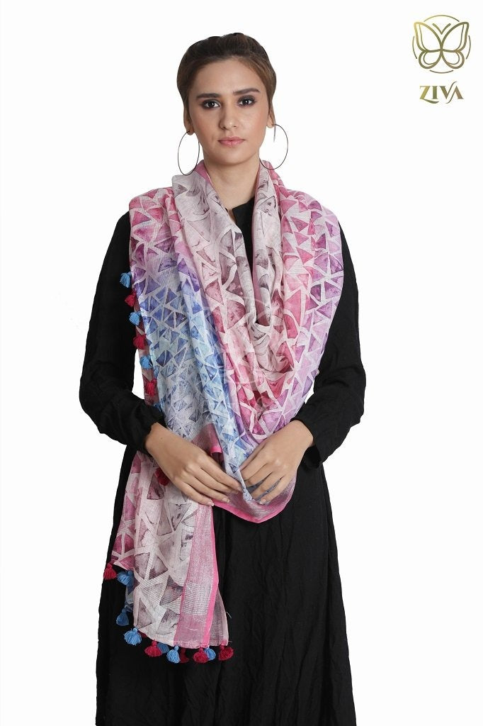 Two Tone Tile Printed Linen Stole - ZIVA CLOTHING