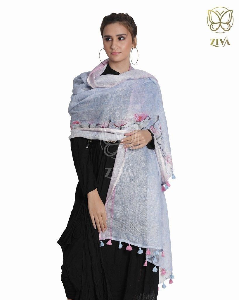 Baby Blue Floral Linen Dupatta - ZIVA CLOTHING