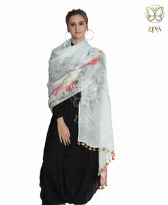 Steel Grey Floral Linen Stole - ZIVA CLOTHING