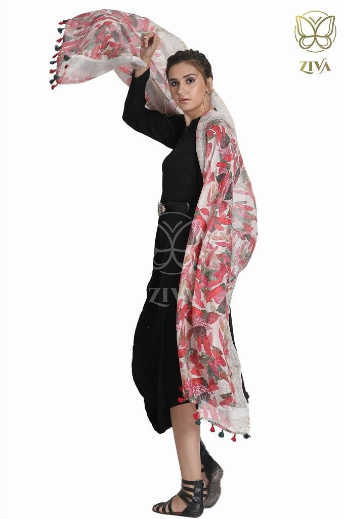 Maple Red Printed Linen Dupatta - ZIVA CLOTHING