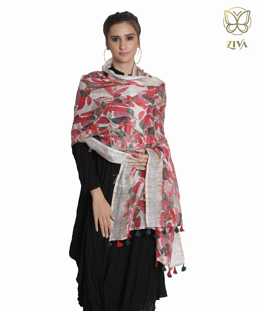 Maple Red Printed Linen Stole - ZIVA CLOTHING