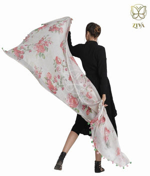 White Floral Linen Dupatta - ZIVA CLOTHING