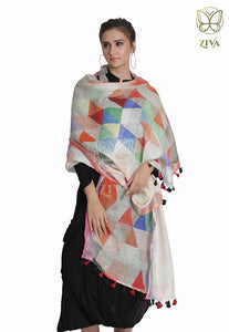 Multi Coloured Mosaic Printed Linen Dupatta - ZIVA CLOTHING