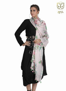 Soft Pink Floral Linen Stole - ZIVA CLOTHING