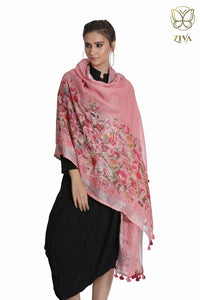 Ice Cream Pink Floral Linen Stole - ZIVA CLOTHING