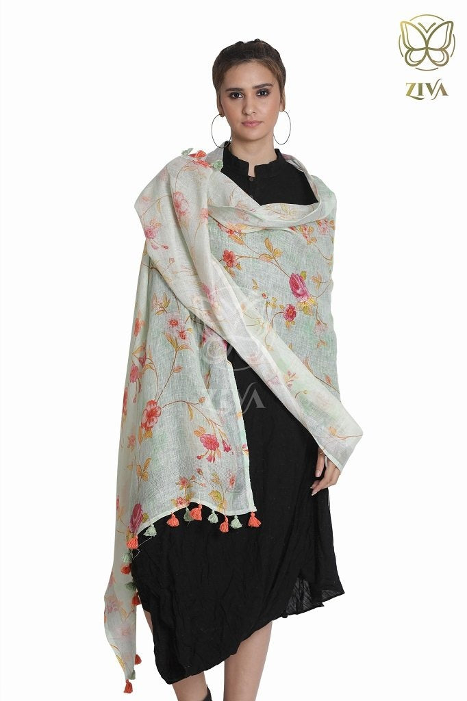 Mint Green Floral Linen Dupatta - ZIVA CLOTHING