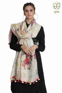 Pale Yellow Floral Linen Dupatta - ZIVA CLOTHING