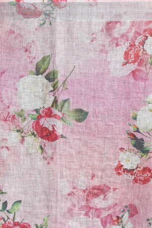 Baby Pink Floral Linen Stole - ZIVA CLOTHING