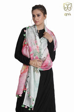 Grey and Pink Floral Linen Dupatta - ZIVA CLOTHING