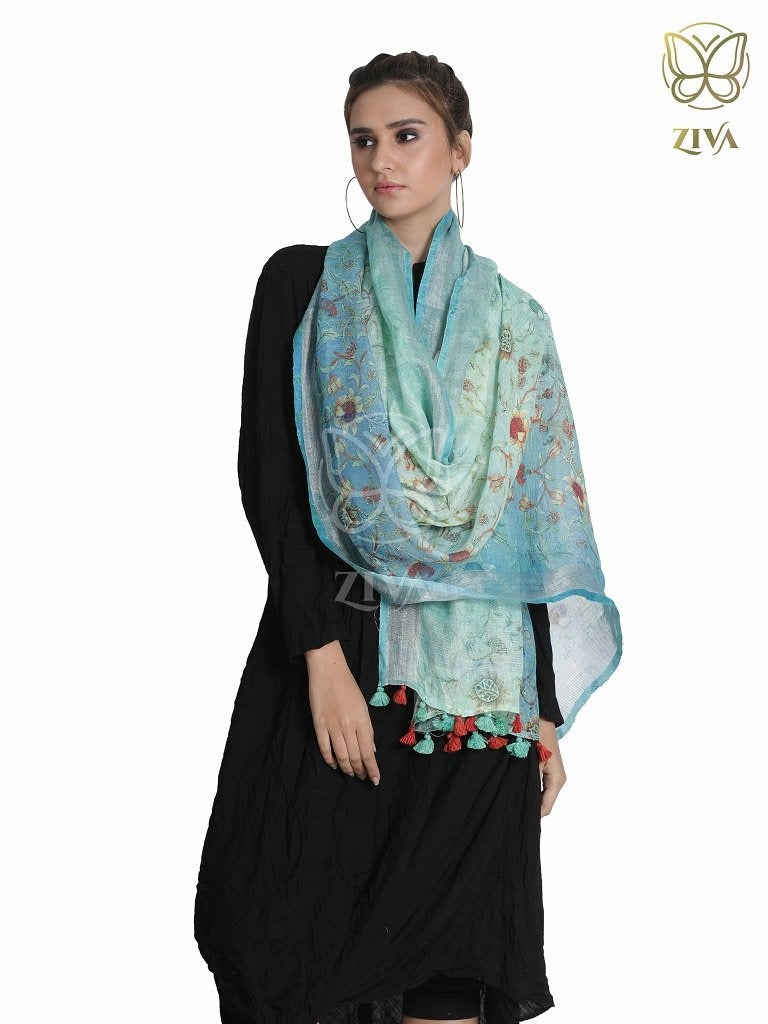 Bluish Green Floral Linen Stole - ZIVA CLOTHING