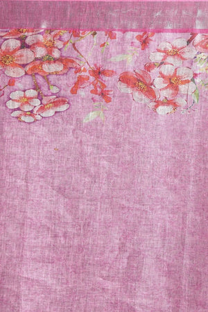 Candy Pink Floral Linen Stole - ZIVA CLOTHING