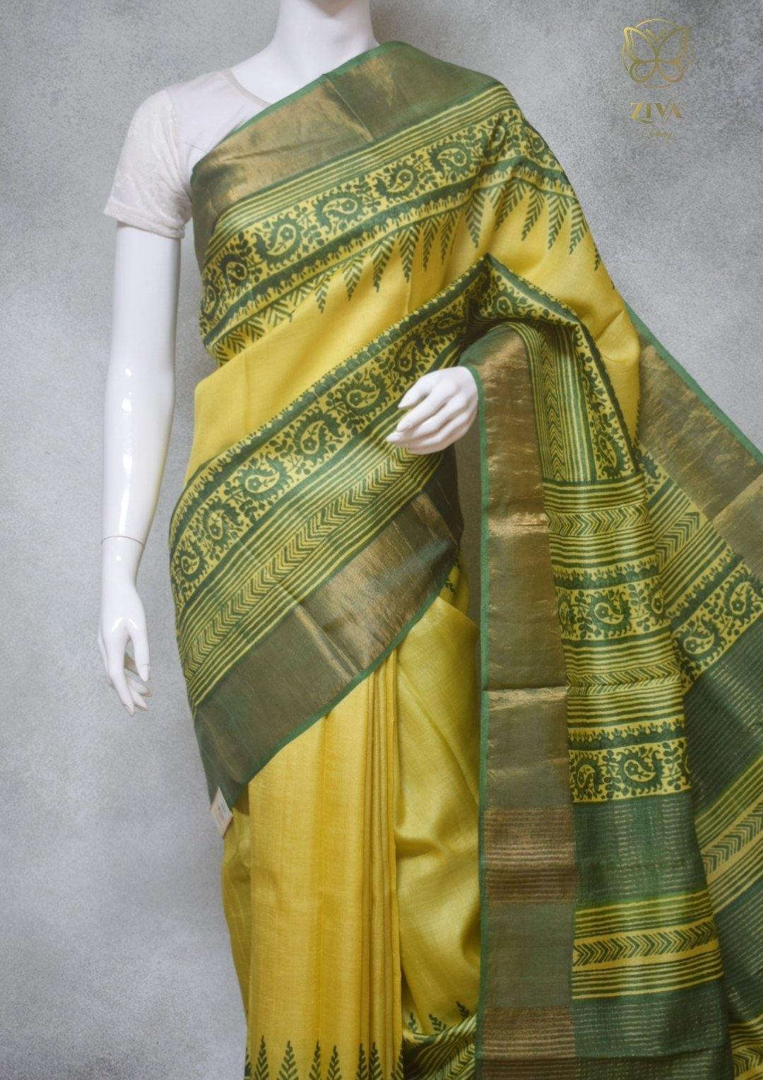 Vibha - Hand Block Printed Zari Border Tussar Silk Saree