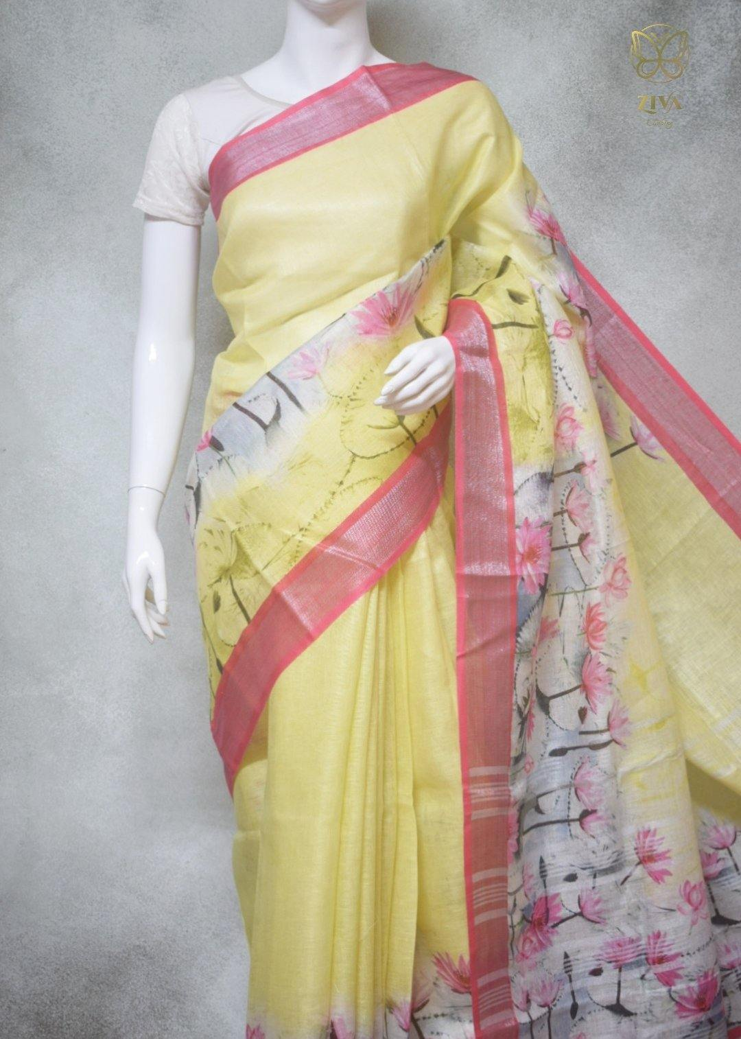 Callista - Pure Linen Saree with Digital Prints