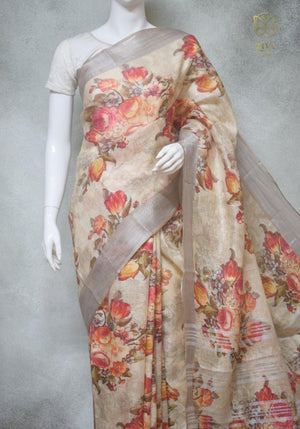 Talia - Pure Linen Saree with Digital Prints