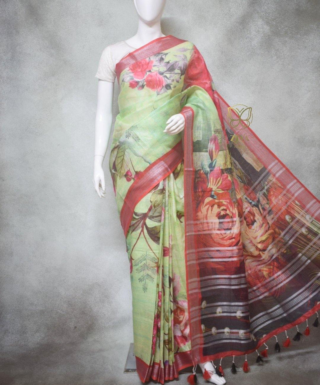 Amalia - Pure Linen Saree with Digital Prints