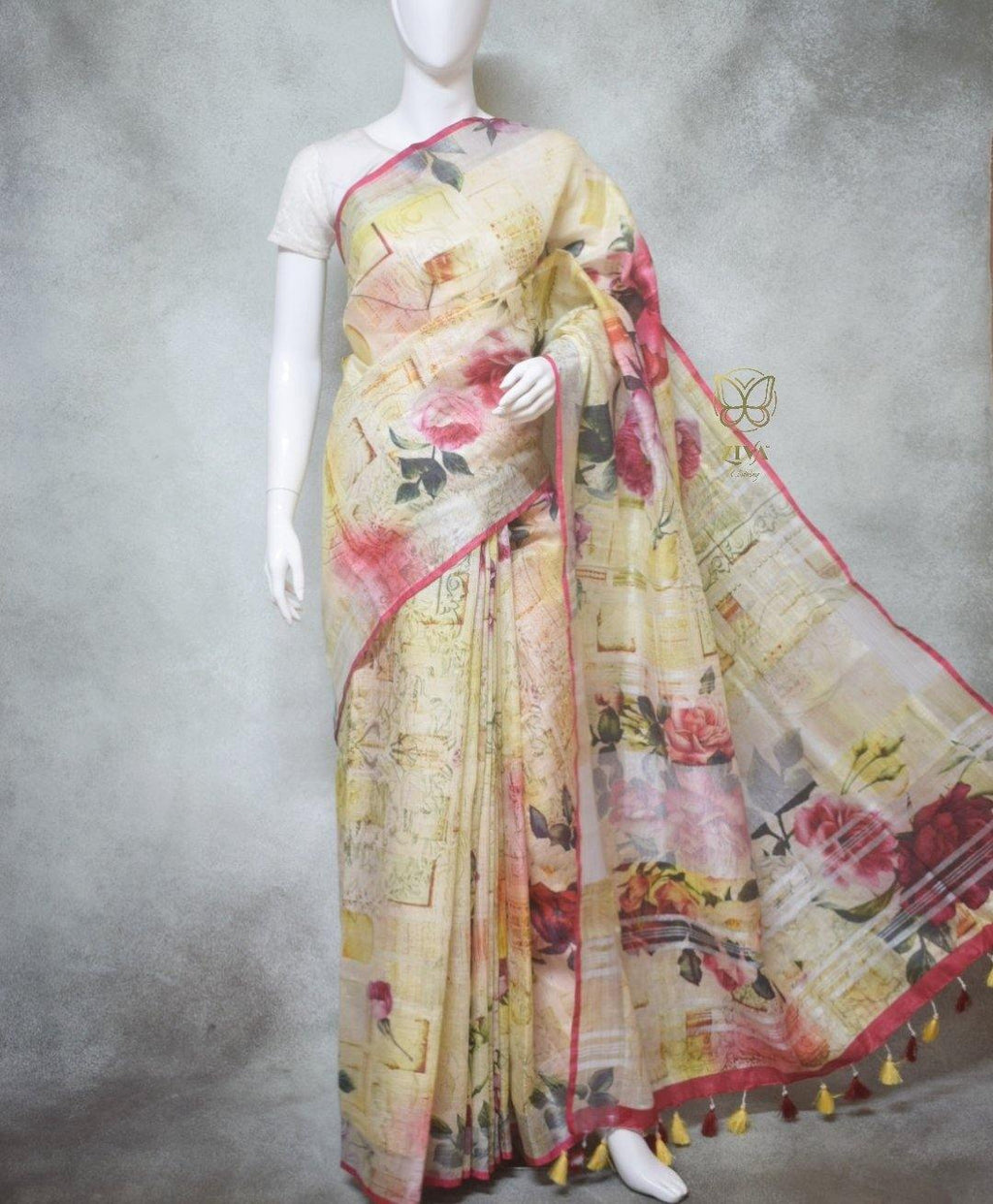 Alessia - Pure Linen Saree with Digital Prints