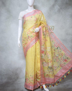 Esme - Pure Linen Saree with Digital Prints