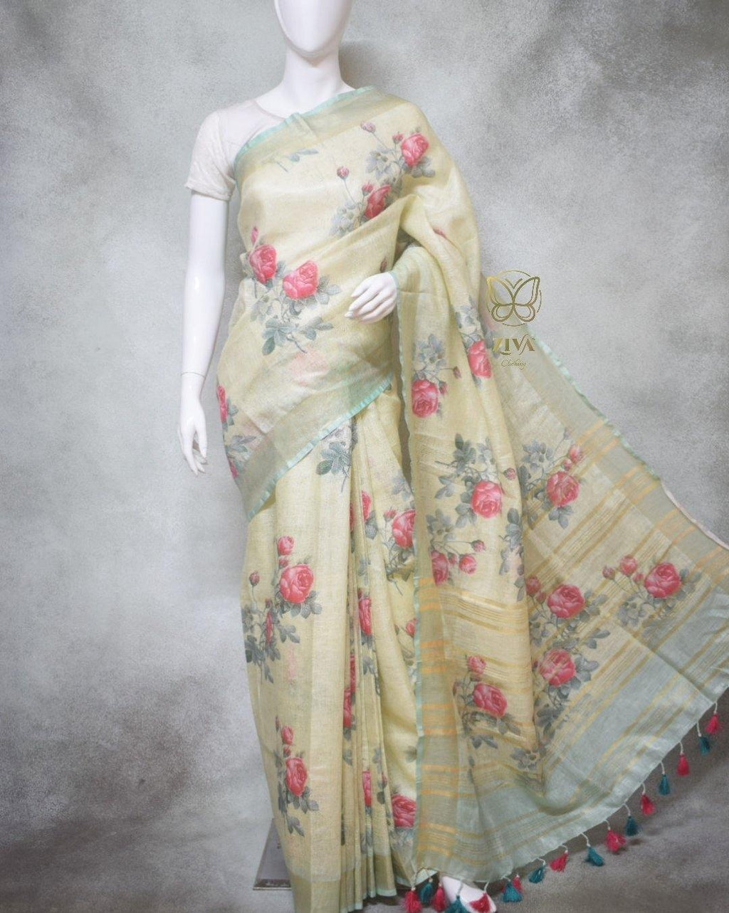 Amelia - Pure Linen Saree with Digital Prints