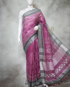 Maisie - Pure Linen Saree with Digital Prints