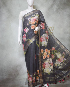 Imogen - Pure Linen Saree with Digital Prints