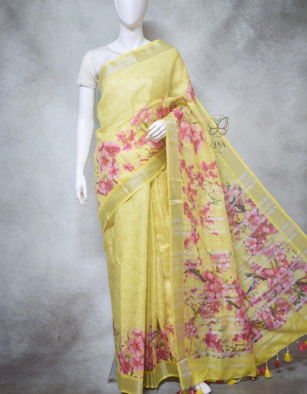 Clementine - Pure Linen Saree with Digital Prints