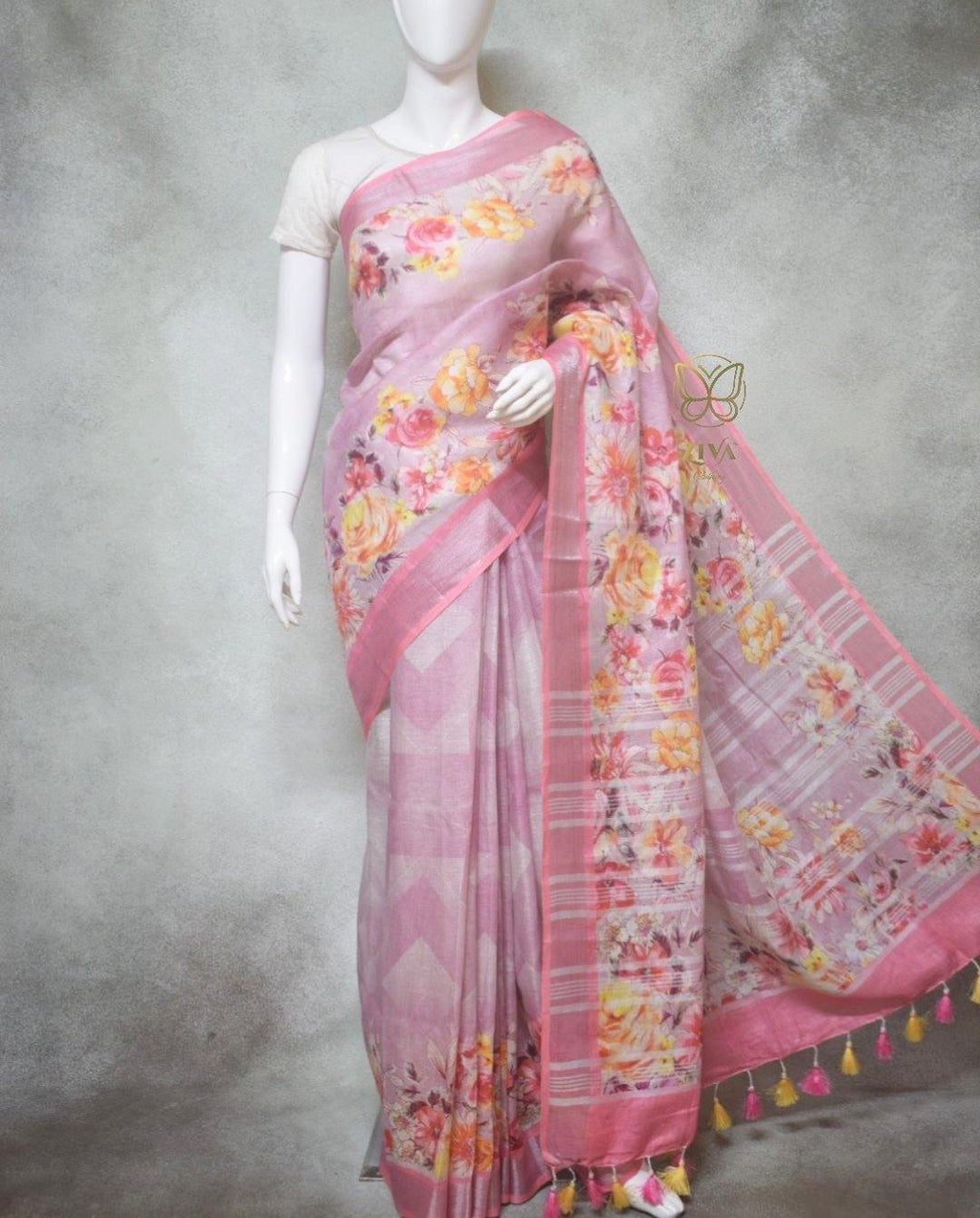 Zara - Pure Linen Sarees with Digital Prints
