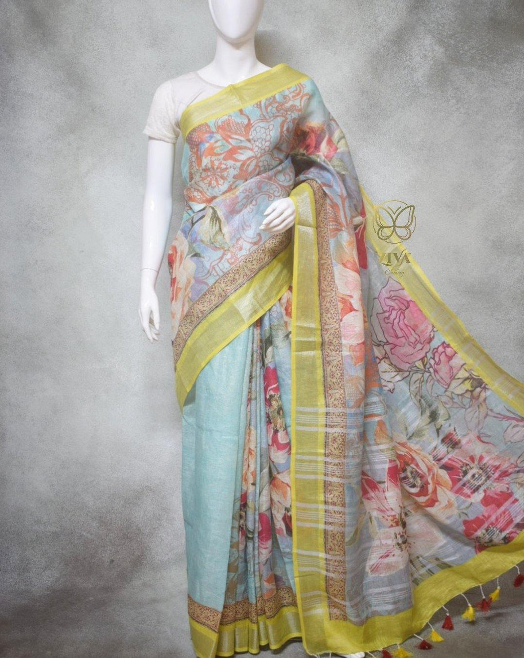 Flora - Pure Linen Saree with Digital Prints