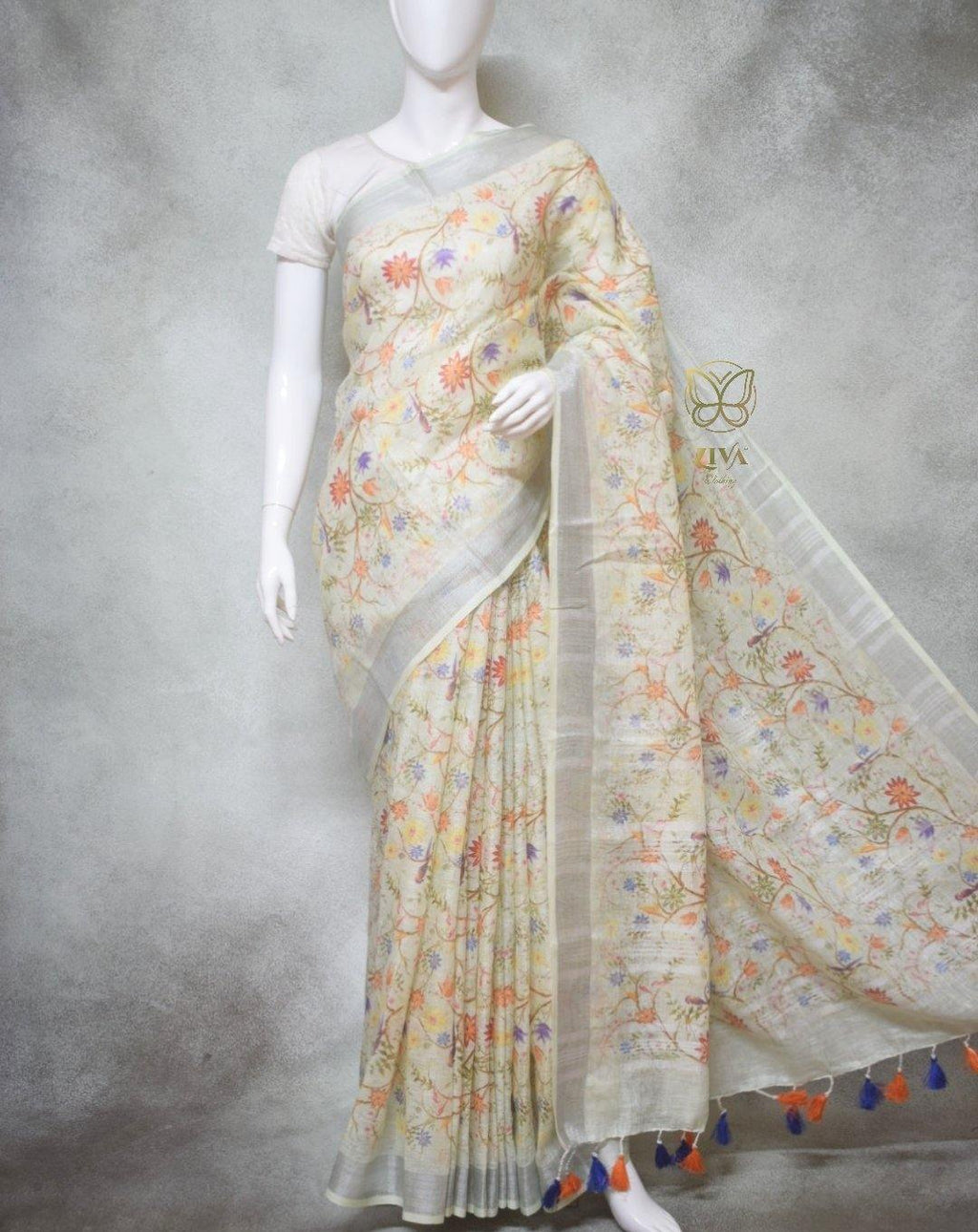 Eva - Pure Linen Saree with Digital Prints