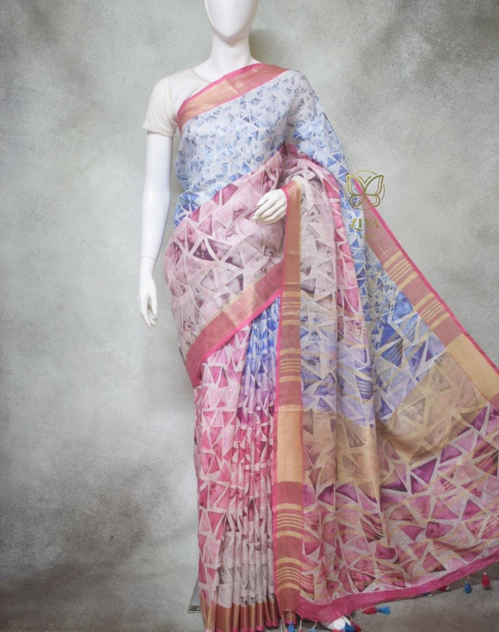 Florence - Pure Linen Saree with Digital Prints