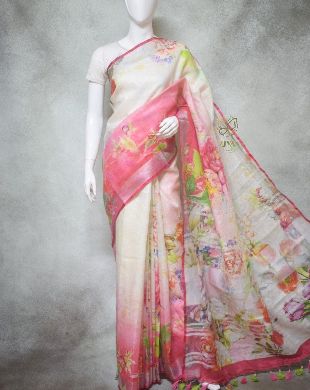 Clover - Pure Linen Saree with Digital Prints