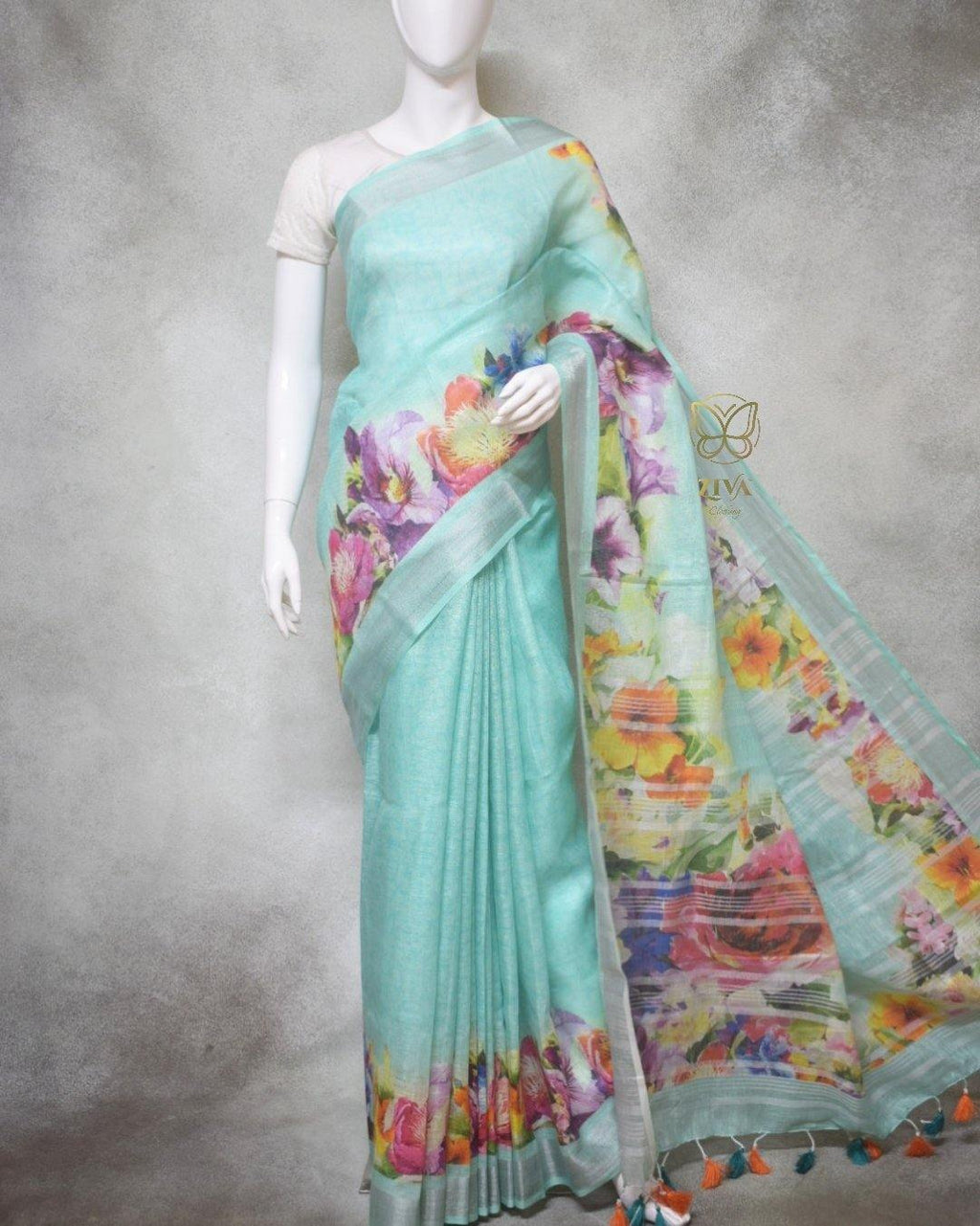 Layla - Pure Linen Saree with Digital Prints